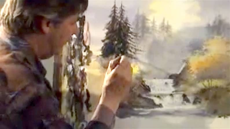 David Bellamy painting a waterfall in watercolour