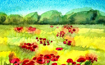 Watercolour Painting | Grassy Meadow With Poppies