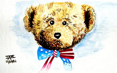 Watercolour Painting | Teddy Bear Postcard