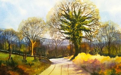 Watercolour Painting | The Road From Stanton Lees