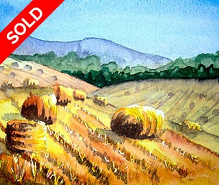 Original Watercolour Painting - Fields of Corn Harvested