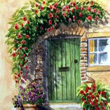 Original Watercolour Painting - Green Doorway
