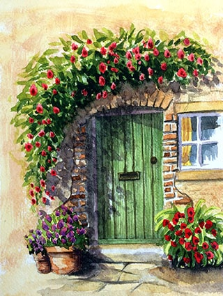 Green Doorway Original Watercolour Painting Watercolour