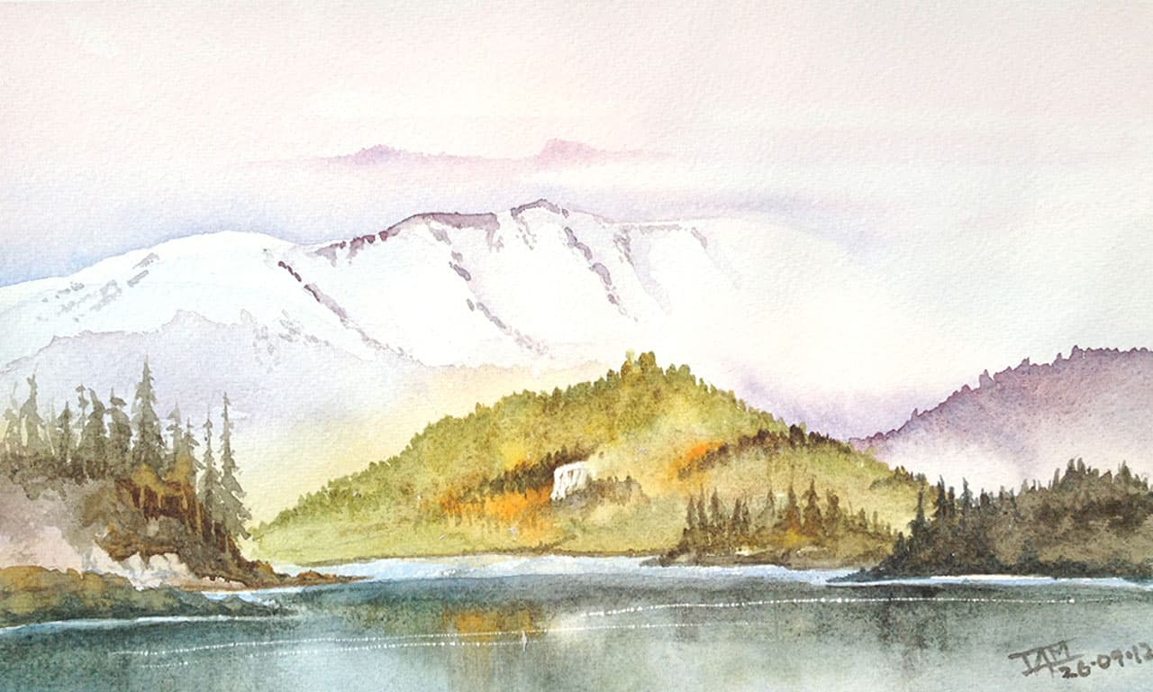 Watercolour Painting | Mountains from The Valley ...