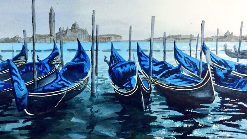 Gondolas - Original Watercolour Painting