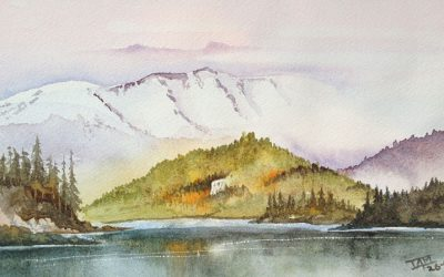 Watercolour Painting | Mountains from The Valley