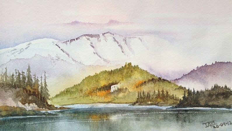 Original Watercolour Painting - Mountains From The Valley