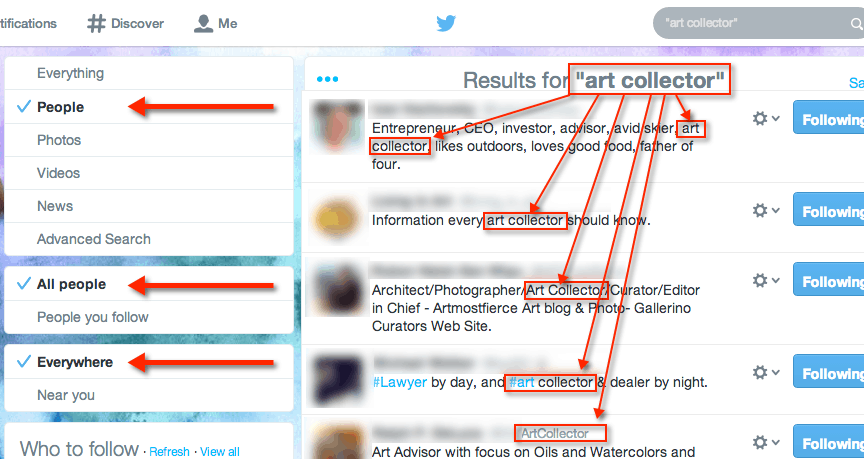 "How to search for ""Art Collector"" on Twitter"