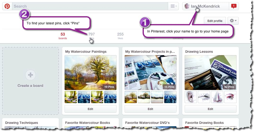 How to change the address URL of a Pin in Pinterest - Stage 1 & 2