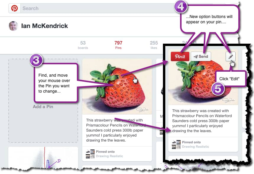 How to change the address URL of a Pin in Pinterest - Stage 3, 4 & 5