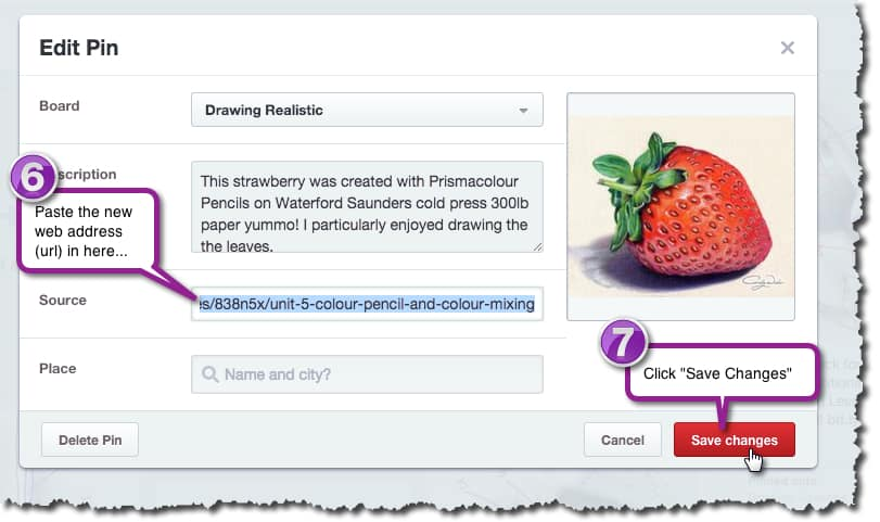 How to change the address URL of a Pin in Pinterest - Stage 6 & 7